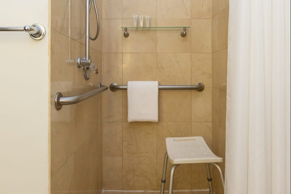 The Paradise Inn accessible shower.
